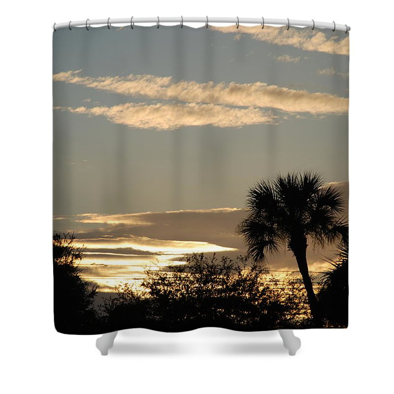 Clouds Palm Trees Shower Curtain featuring the photograph Sunsets In The West by Rob Hans