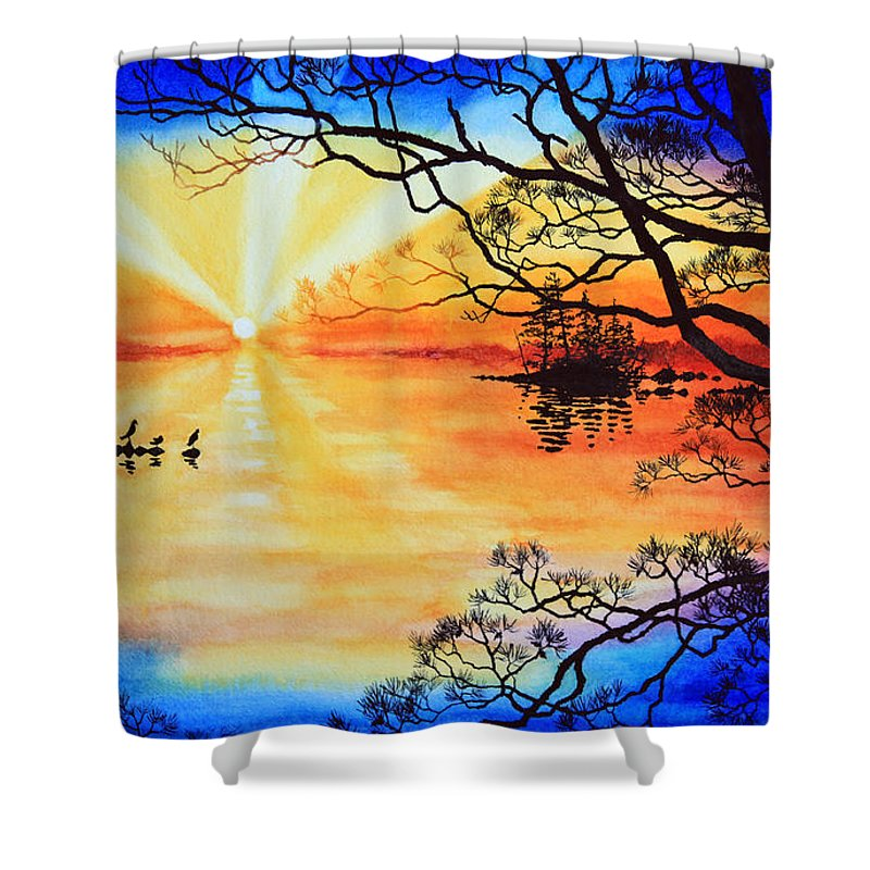 Northern Ontario Painting By Hanne Lore Koehler Shower Curtain featuring the painting Sunshine On My Shoulders by Hanne Lore Koehler