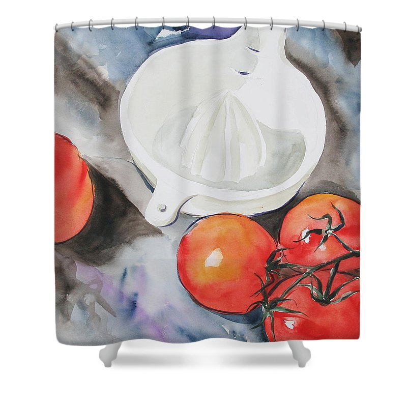 Tomatoes Shower Curtain featuring the painting Sunshine On The Vine by Jean Blackmer