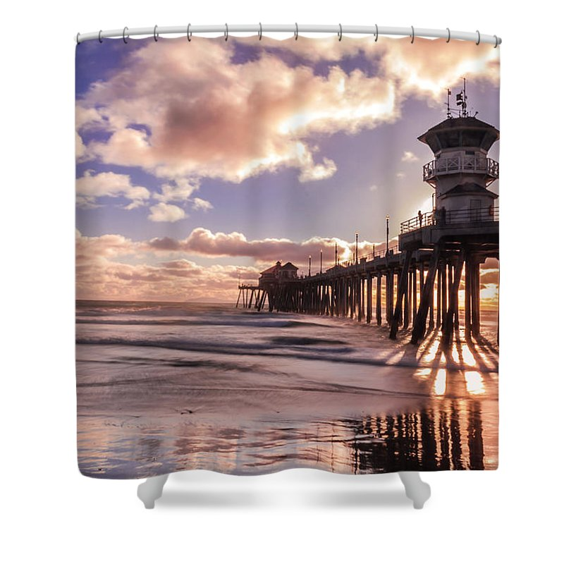 Sunset Shower Curtain featuring the photograph Sunshine Pier by Ann Michelle Smith