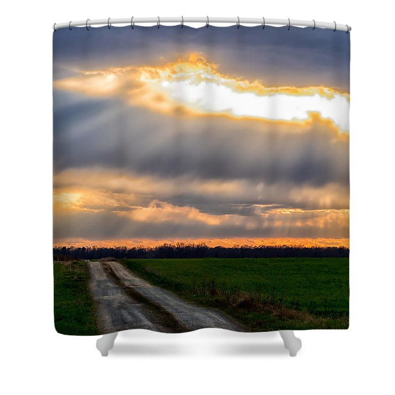 Sunshine Shower Curtain featuring the photograph Sunshine Through The Clouds by Carol Ward