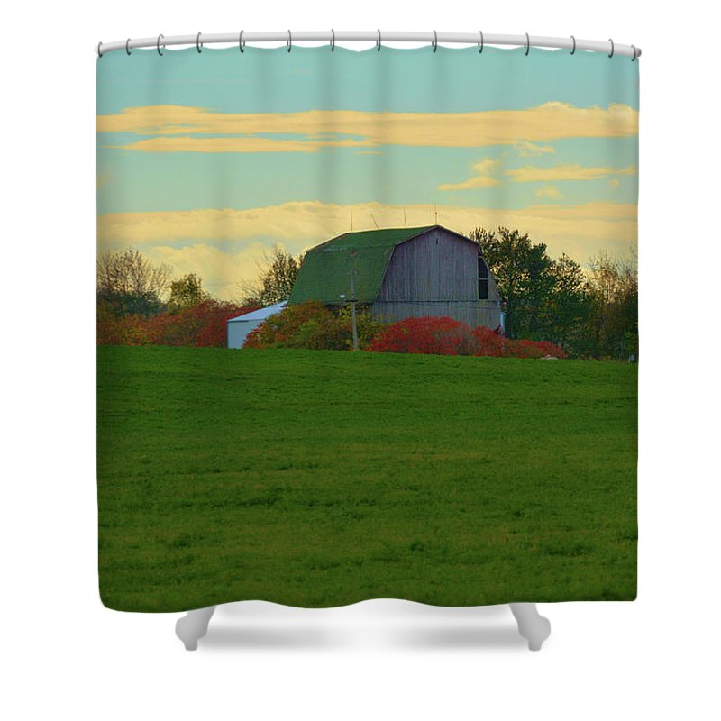Scenic Shower Curtain featuring the photograph Sunsset On A Barn by Richard Jenkins