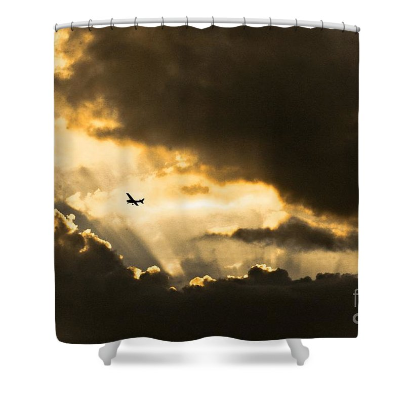 Sunset Shower Curtain featuring the photograph Sunvisors Down by Kim Henderson