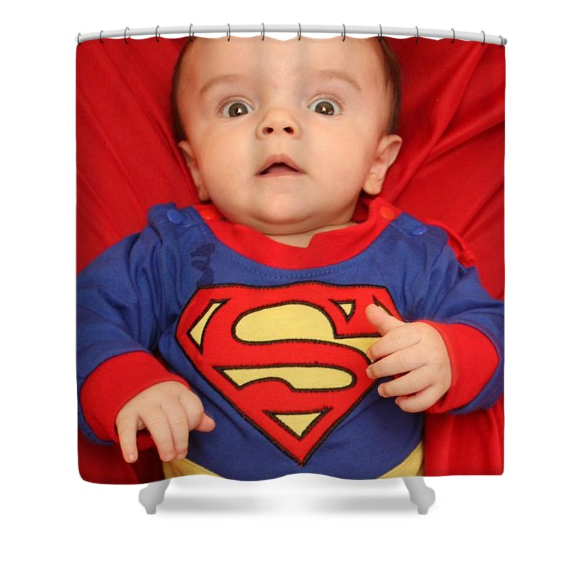 Child Shower Curtain featuring the photograph Super Baby by Sheryl Chapman Photography