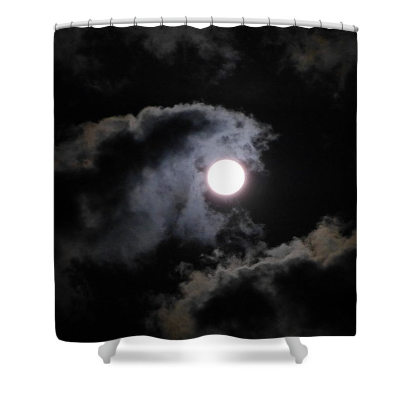 Super Moon Shower Curtain featuring the photograph Super Moon Held In The Arc Of Clouds by Abstract Angel Artist Stephen K