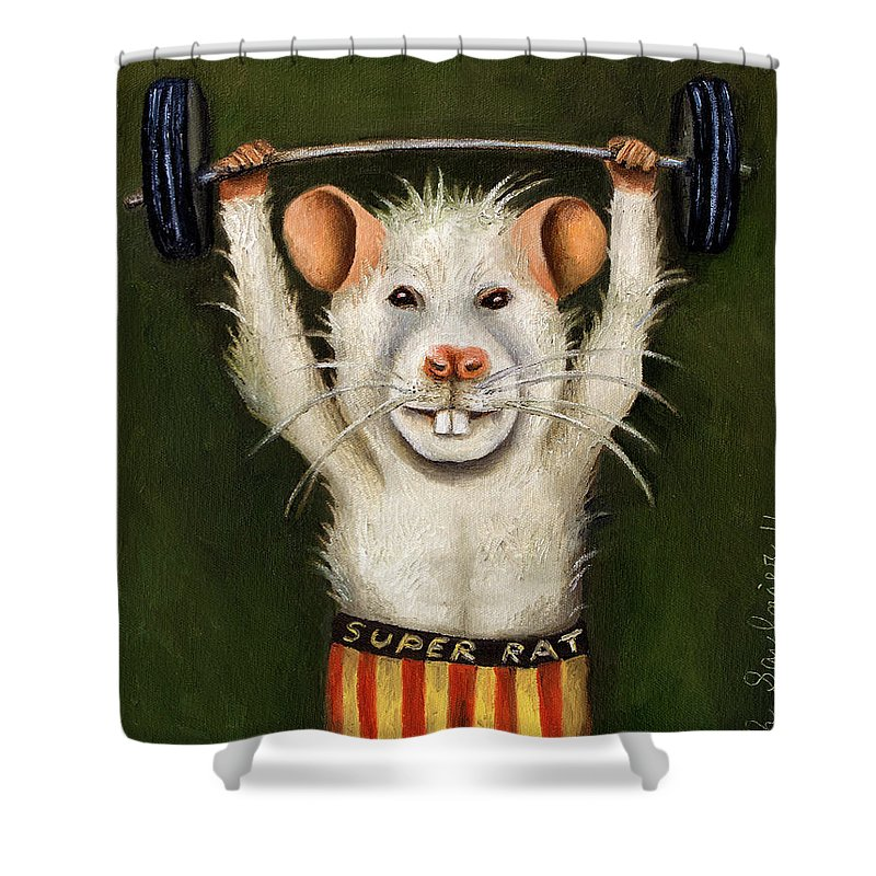 Rat Shower Curtain featuring the painting Super Rat by Leah Saulnier The Painting Maniac