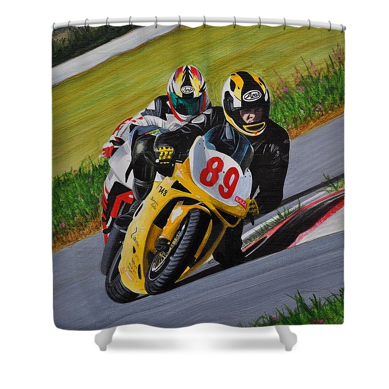 Motorcycle Shower Curtain featuring the painting Superbikes by Kenneth M Kirsch