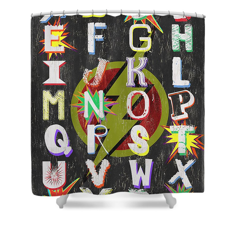 Alphabet Shower Curtain Featuring The Painting Superhero By Debbie DeWitt
