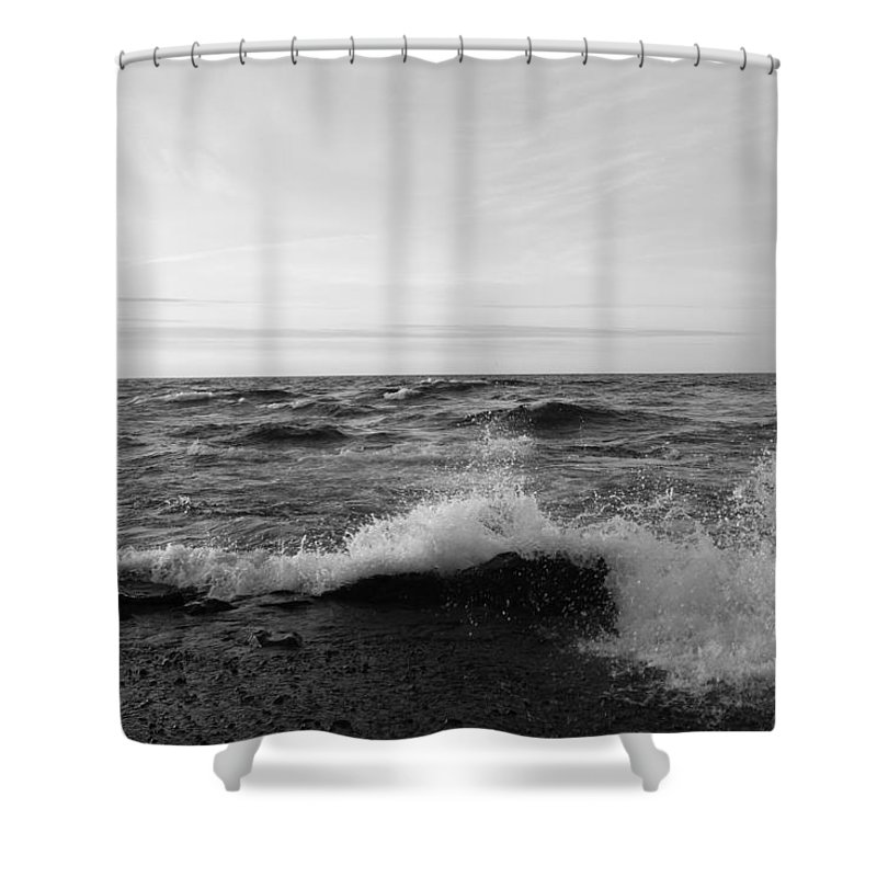 Pure Shower Curtain featuring the photograph Superior Waves by Two Bridges North