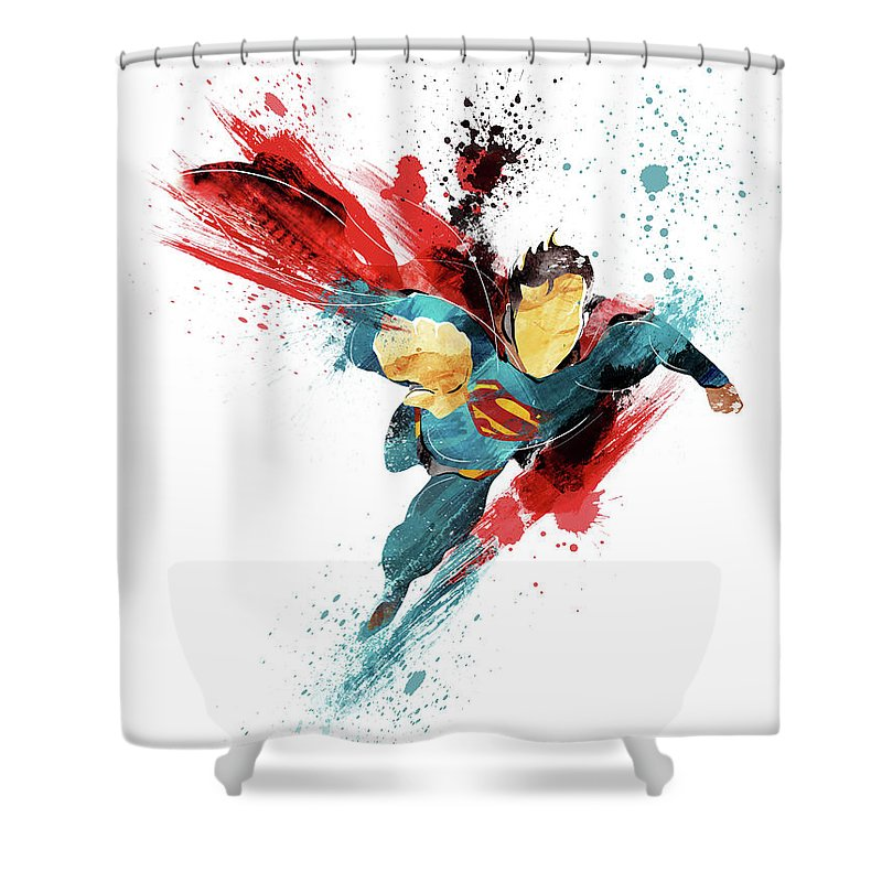 Superman Shower Curtain Featuring The Painting Abstract By Unique Drawing
