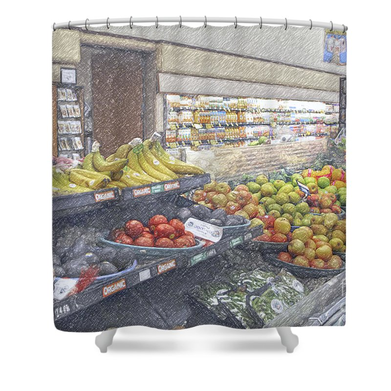 Supermarket Produce Section Shower Curtain featuring the photograph Supermarket Produce Section by David Zanzinger