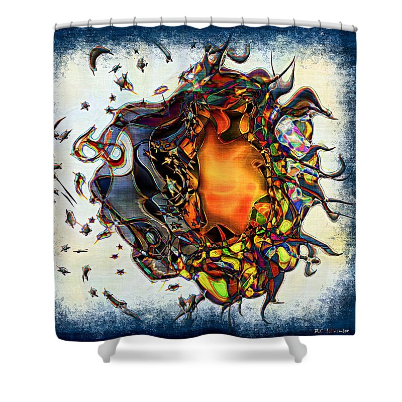 Abstract Shower Curtain featuring the painting Supernova In Harlequin by RC DeWinter