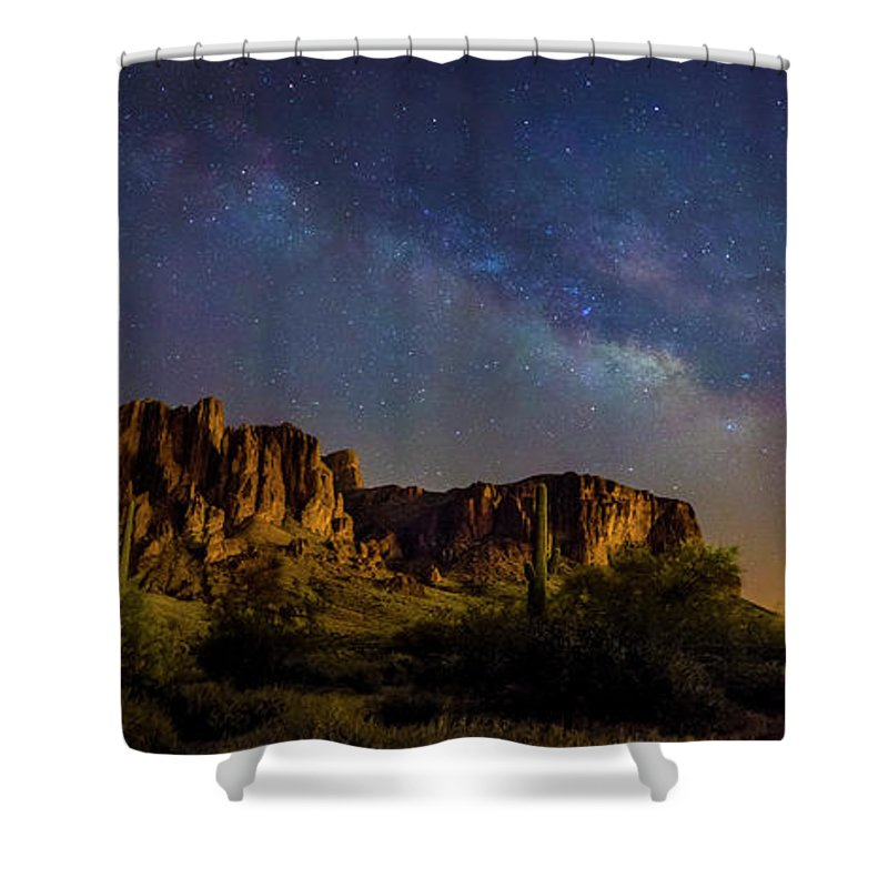 Arizona Shower Curtain featuring the photograph Superstition by Marc Leatham