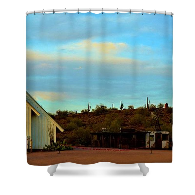 Arizona Shower Curtain featuring the photograph Superstition Mountain Park Church by Richard Jenkins