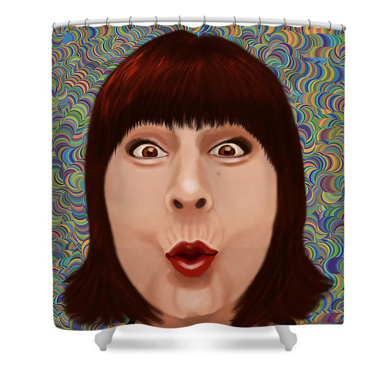 Illustration Shower Curtain featuring the digital art Suprize by Lois Boyce
