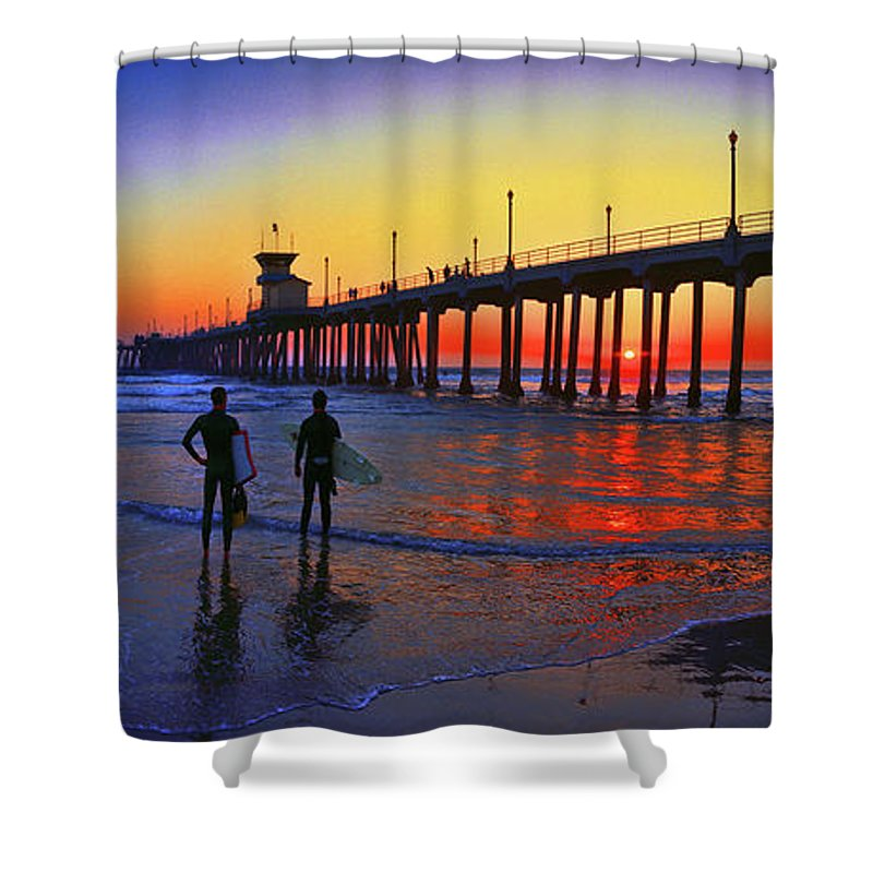 Surf Shower Curtain featuring the photograph Surf City, U S A, Panorama, Huntington Beach, California by Don Schimmel
