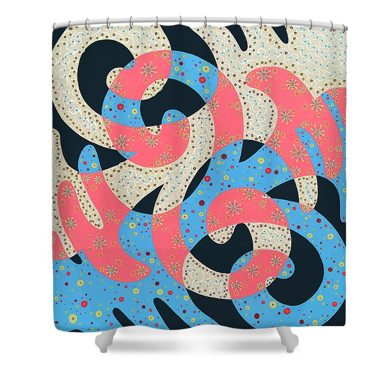 Abstract Shower Curtain featuring the painting Surf Dance by Louise Hankes
