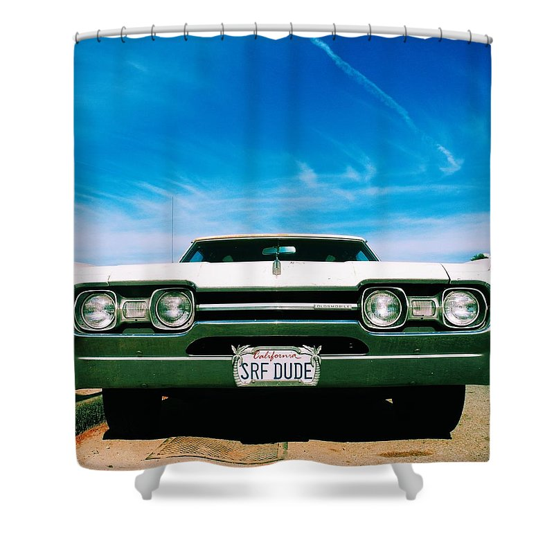 Surfdude Shower Curtain featuring the photograph Surf Dude's Oldsmobile by Robert Ceccon