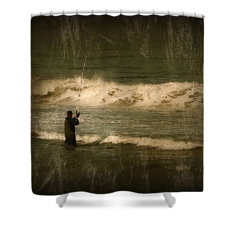 Jersey Shore Shower Curtain featuring the photograph Surf Fisherman - Jersey Shore by Angie Tirado