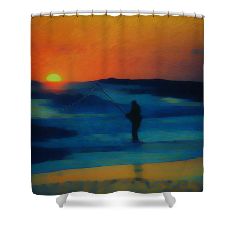 Digital Photograph Shower Curtain featuring the photograph Surf Fishing by David Lane