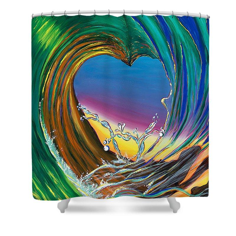Surf Shower Curtain featuring the painting Surf Love Clark Little By Luke by Luke Walker