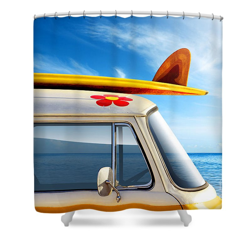 60ties Shower Curtain featuring the photograph Surf Van by Carlos Caetano