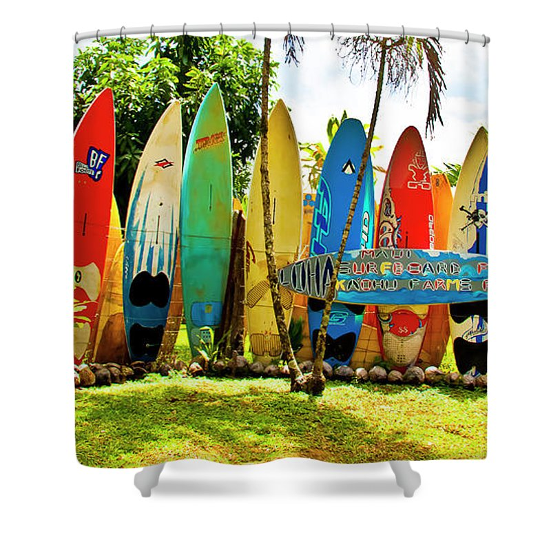 Surfboard Shower Curtain featuring the photograph Surfboard Fence II-the Amazing Race by Jim Cazel