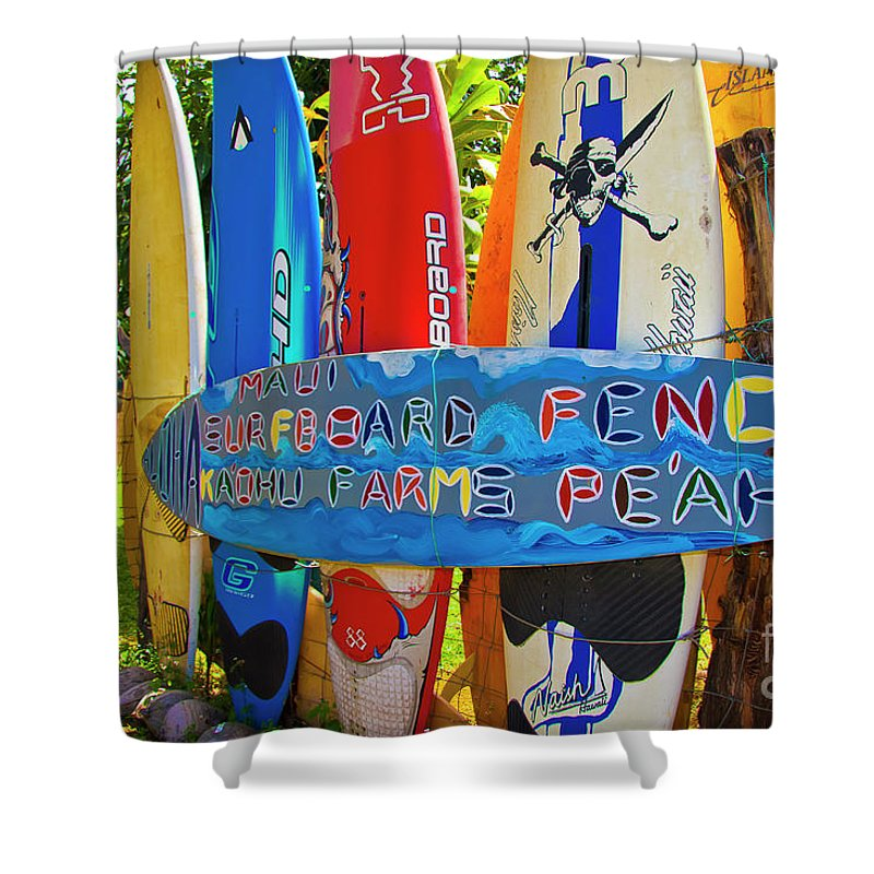 Surfboards Shower Curtain featuring the photograph Surfboard Fence-the Amazing Race by Jim Cazel