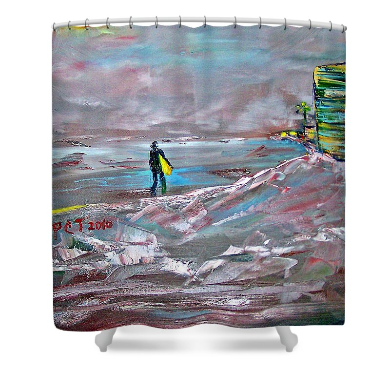 Surfer Shower Curtain featuring the painting Surfer On A Foggy Day by Patricia Taylor