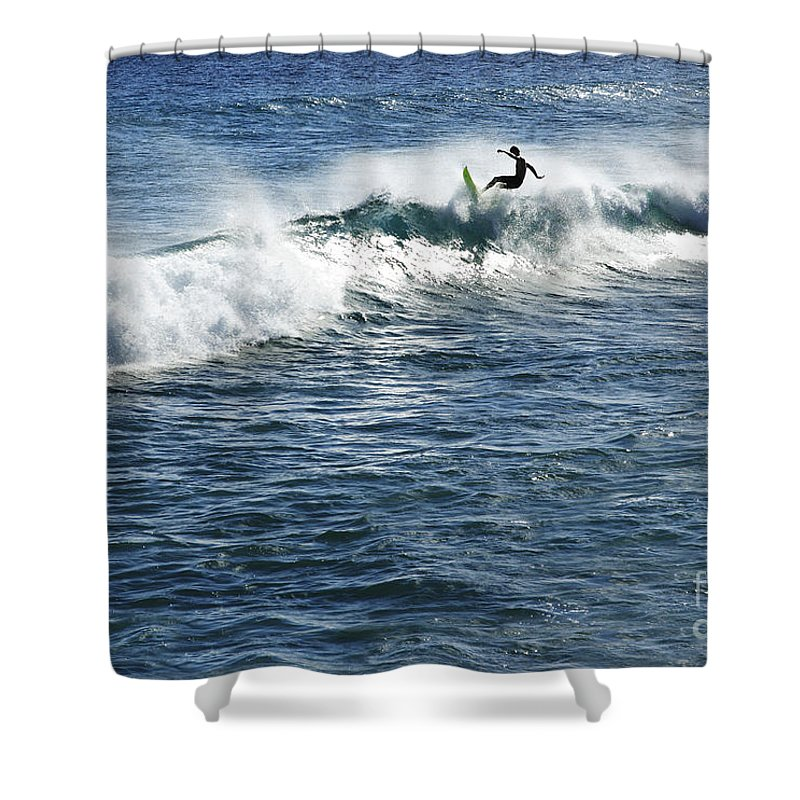 Adrenaline Shower Curtain featuring the photograph Surfer Riding A Wave by Brandon Tabiolo - Printscapes