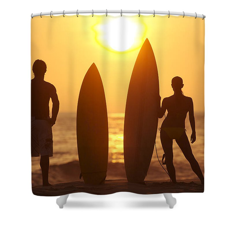 Afternoon Shower Curtain featuring the photograph Surfer Silhouettes by Larry Dale Gordon - Printscapes