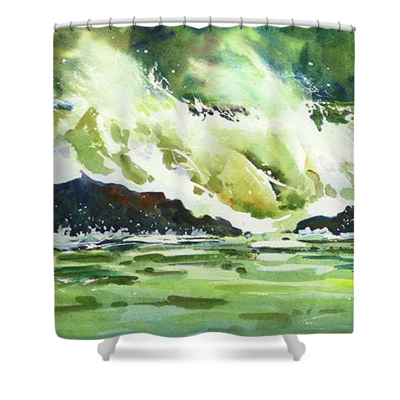 Surf Shower Curtain featuring the painting Surfers Dream by Mohamed Hirji