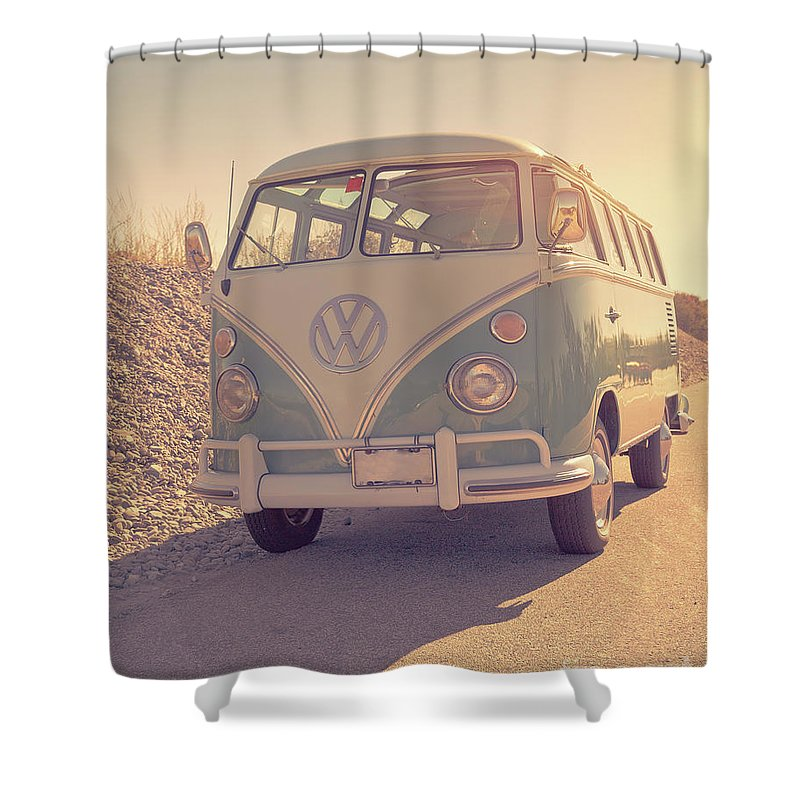 Surfer Shower Curtain Featuring The Photograph Surfers Vintage Vw Samba Bus At Beach 2016 By