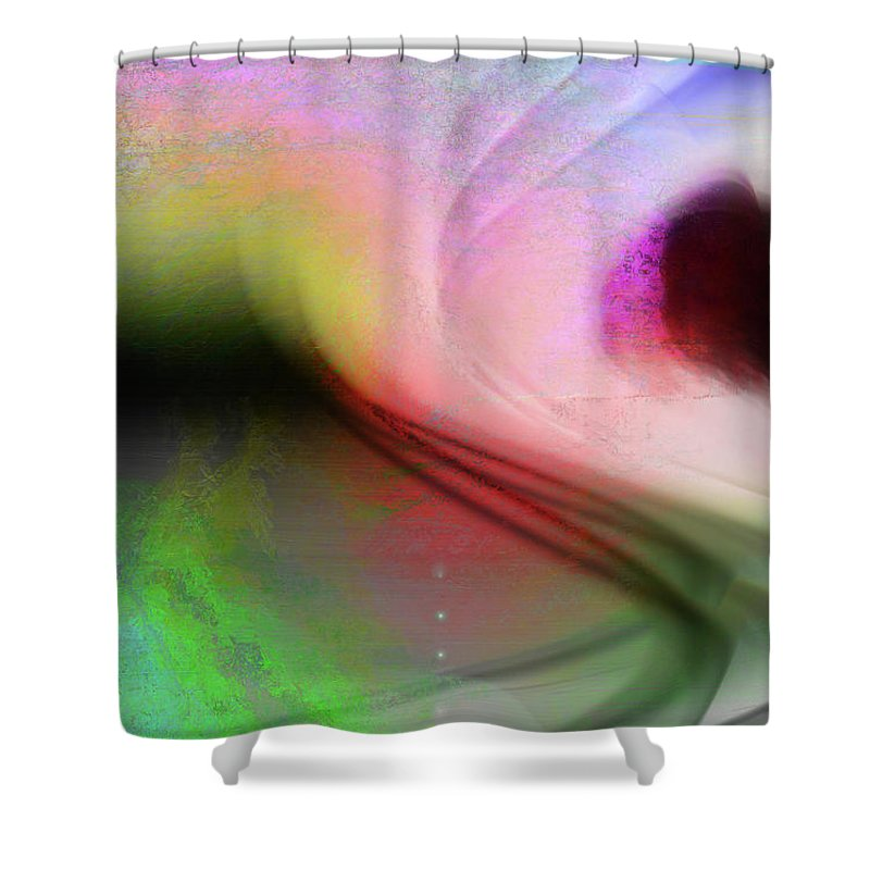 Digital Art Shower Curtain featuring the digital art Surfing In The Light by Linda Sannuti