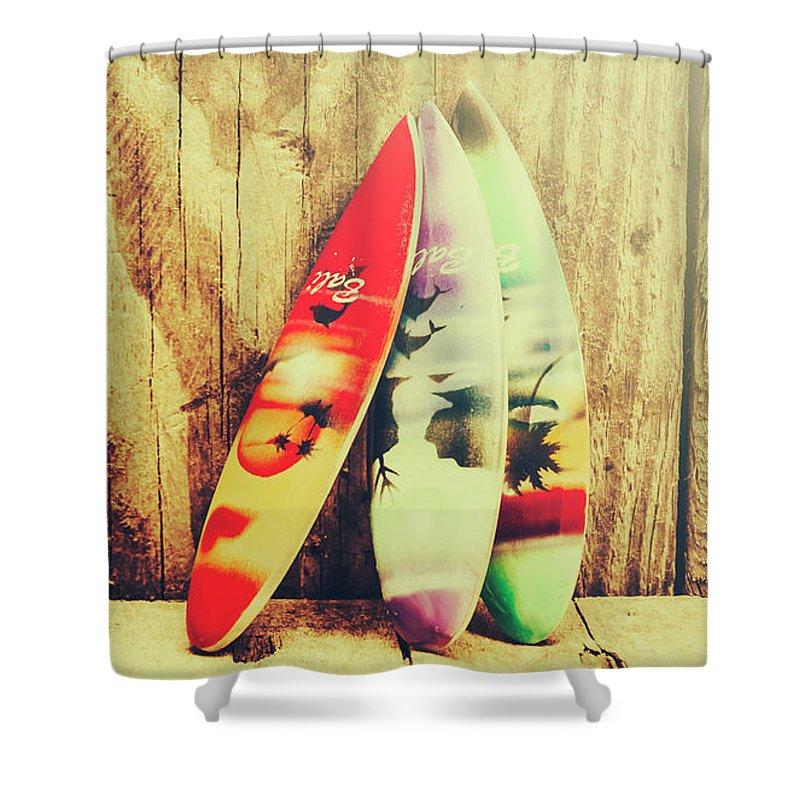 Surfing Still Life Artwork Shower Curtain for Sale by Jorgo ...