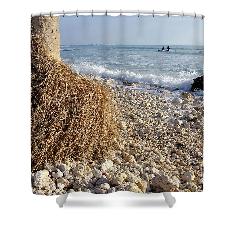 Surfing Shower Curtain featuring the photograph Surfing With Palms by David Lee Thompson