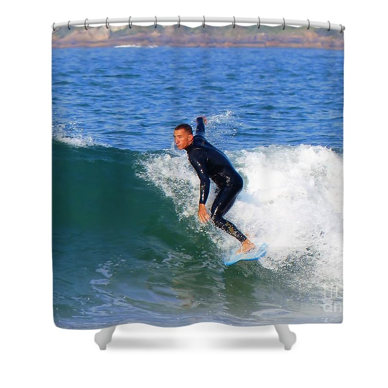 Surfing Shower Curtain featuring the photograph Surf's Up by Carlos Amaro