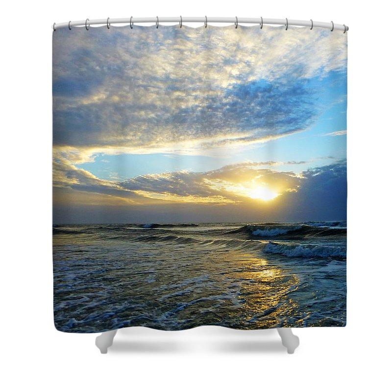 St. Augustine Shower Curtain featuring the photograph St. Augustine Beach Sunrise Surf by Phil King