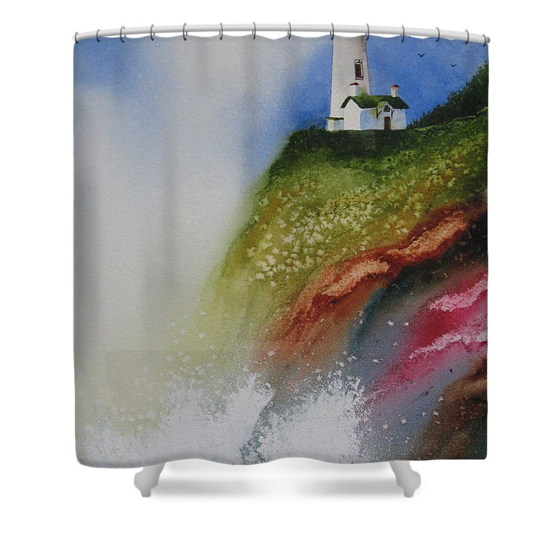 Lighthouse Shower Curtain featuring the painting Surfside by Karen Stark