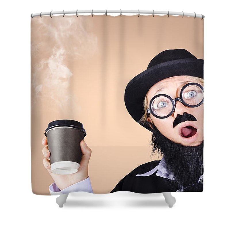 Adult Shower Curtain featuring the photograph Surprised Business Person High On Coffee by Jorgo Photography - Wall Art Gallery