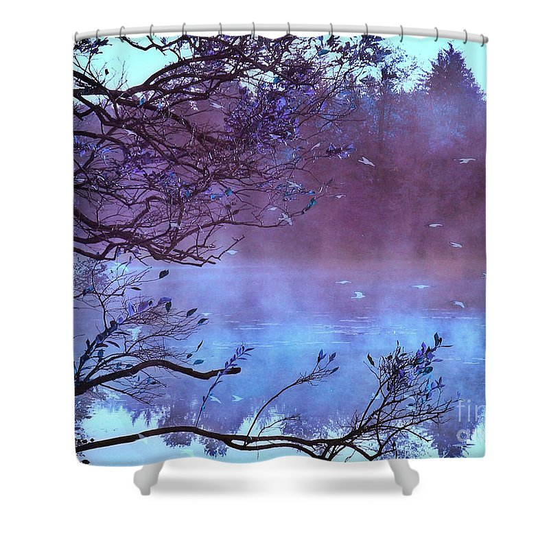 Surreal Nature Shower Curtain Featuring The Photograph Fantasy Purple Fall Autumn Scene By Kathy
