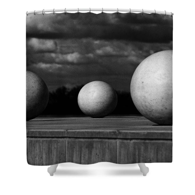 Black And White Shower Curtain featuring the photograph Surreal Globes by Peter Piatt