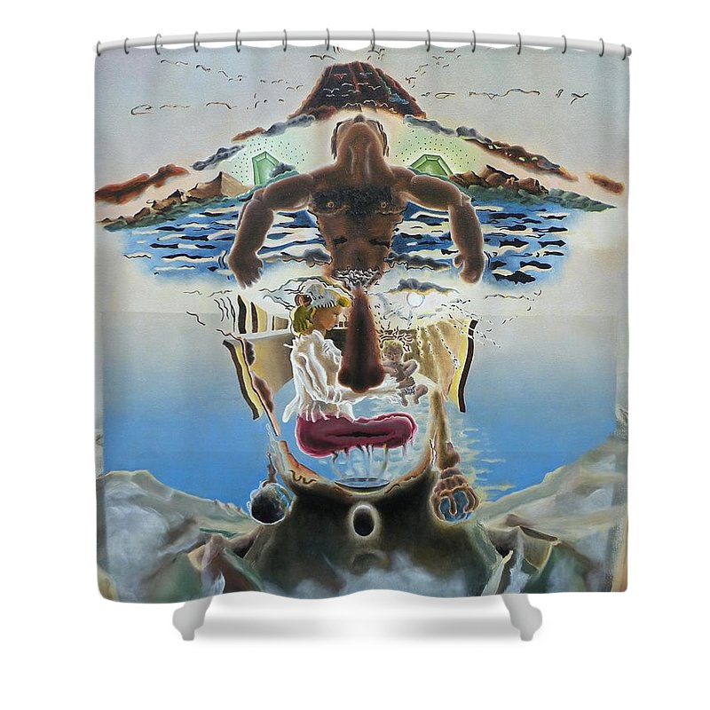 Surreal Shower Curtain featuring the painting Surreal Memories by Dave Martsolf