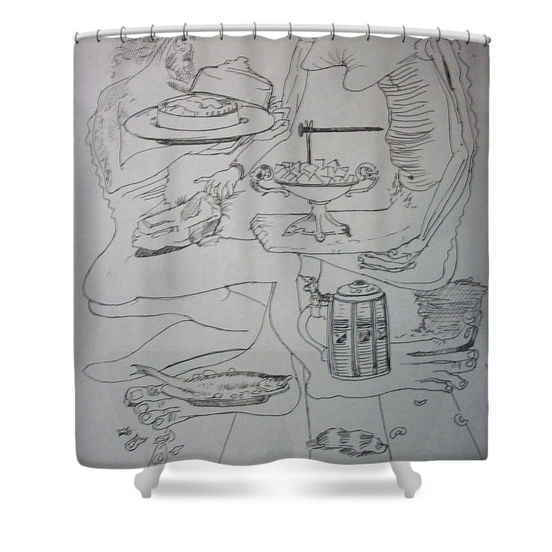 Shower Curtain featuring the drawing Surrealist Man And Woman by Jude Darrien