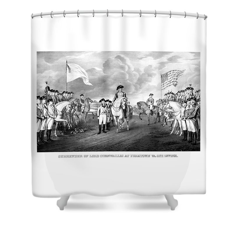 George Washington Shower Curtain featuring the mixed media Surrender Of Lord Cornwallis At Yorktown by War Is Hell Store