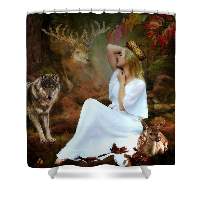 Beauty Shower Curtain featuring the mixed media Surrounded By Beauty by G Berry