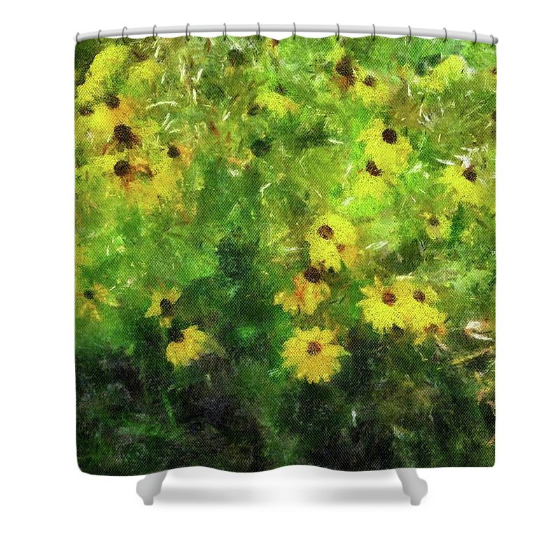 Flowers Shower Curtain featuring the painting Susan's Field by Jamie Holbrook