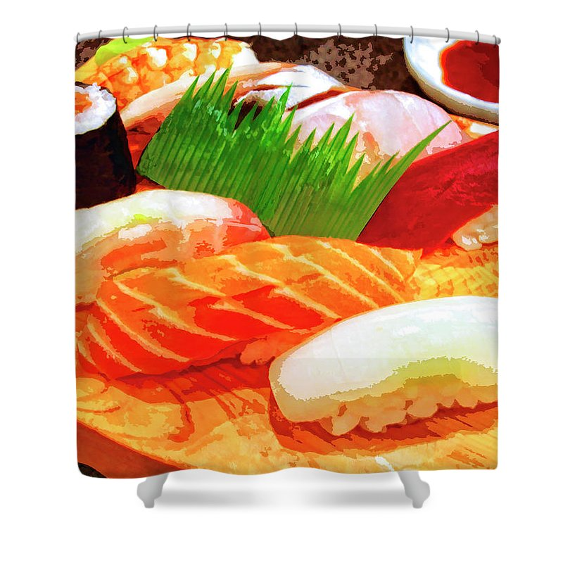Sushi Plate Shower Curtain featuring the mixed media Sushi Plate 1 by Dominic Piperata