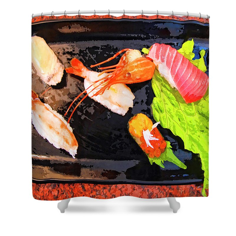 Sushi Plate Shower Curtain featuring the mixed media Sushi Plate 2 by Dominic Piperata
