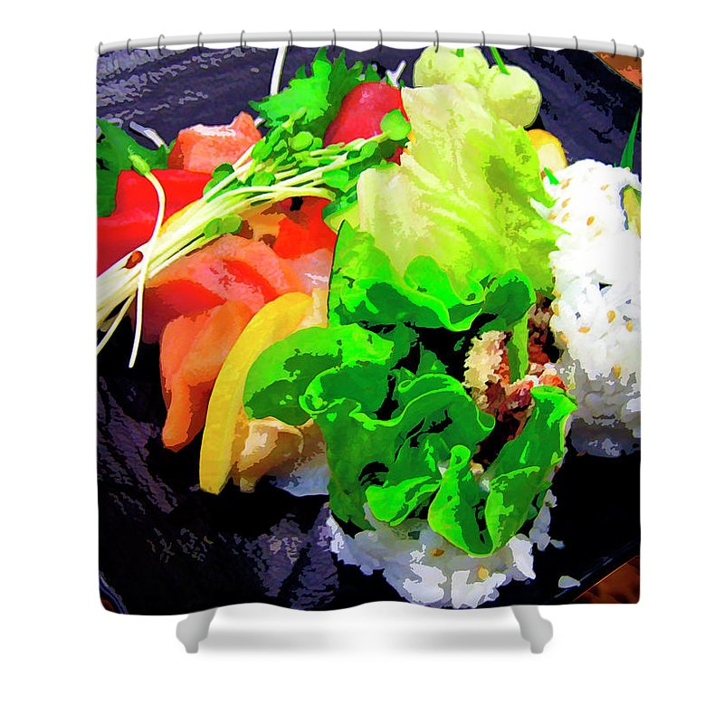 Sushi Plate Shower Curtain featuring the mixed media Sushi Plate 5 by Dominic Piperata